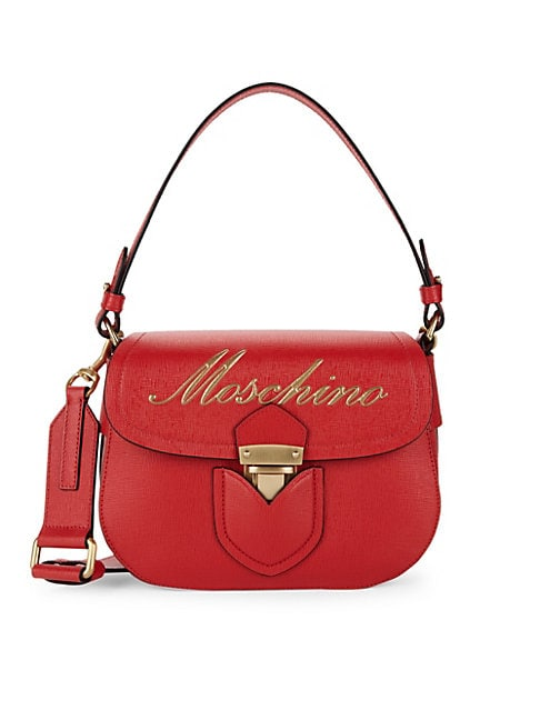 MOSCHINO | Rosso Leather Crossbody Satchel | Goxip