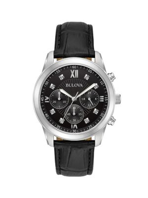 Bulova Watches Dress Standard Diamond Stainless Steel & Leather-Strap Chronograph Watch