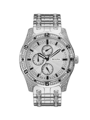Bulova Watches Swarovski Crystal Stainless Steel Bracelet Watch