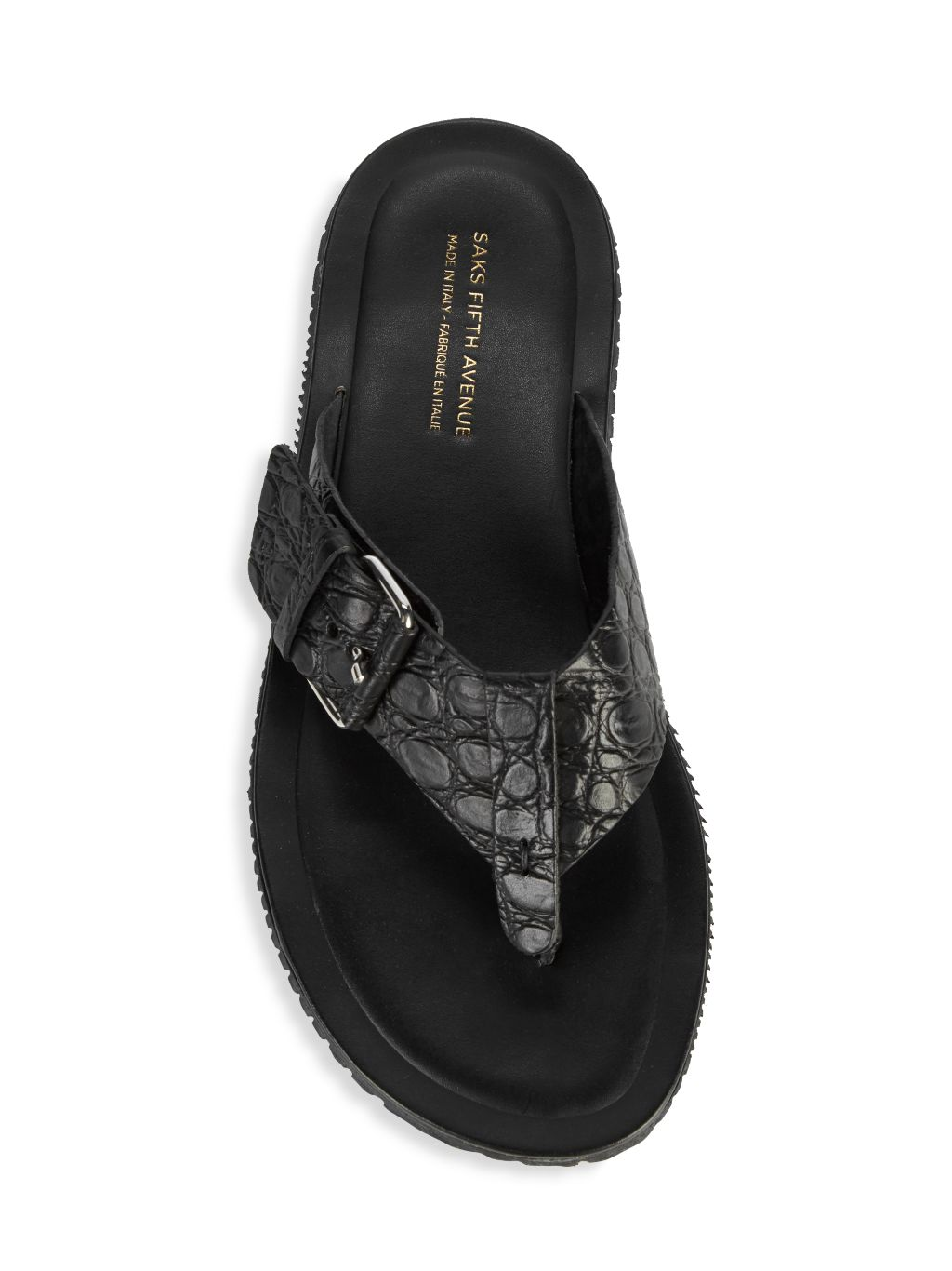 Saks Fifth Avenue Made in Italy Embossed Leather Flip Flops