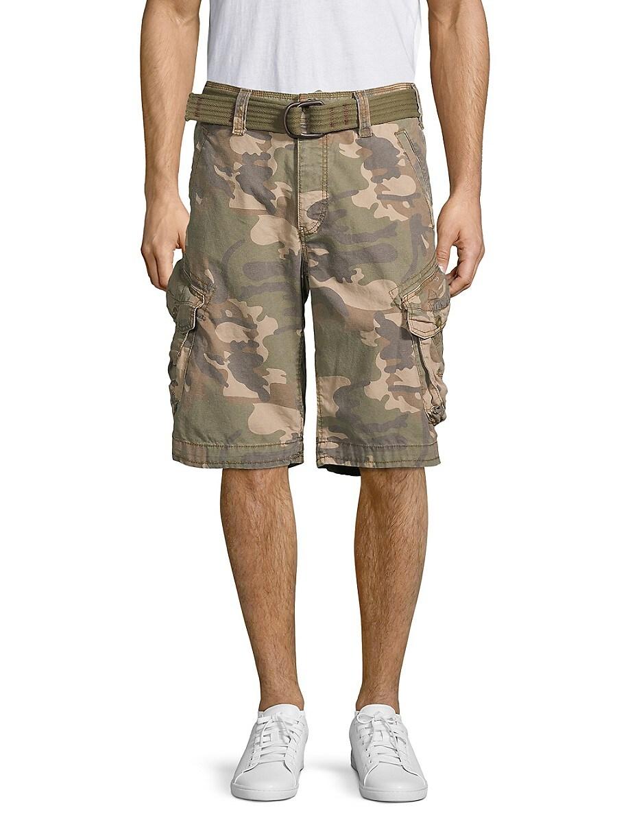 Jetlag Men's Camouflage Belted Cotton Cargo Shorts - Green - Size 36