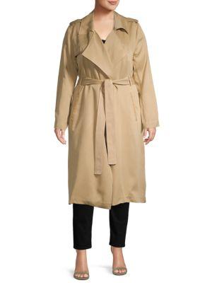 Badgley Mischka Coats Plus Wrap Trench Coat