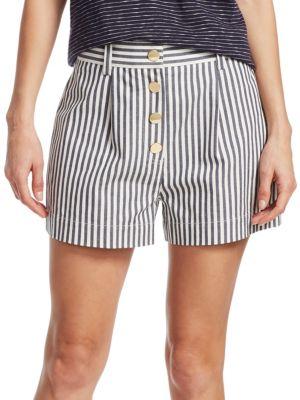 Derek Lam Shorts Striped Cotton-Blend Shorts