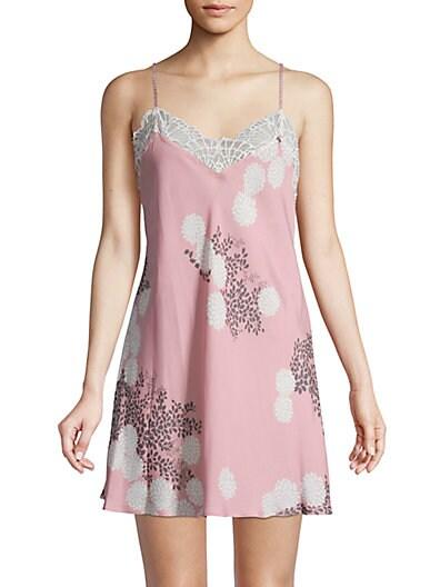 015ebd5e55 Josie Natori Lace Floral-Print Chemise ...