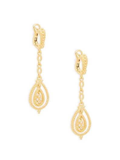 f3a62a676 Judith Ripka La Petite Pave Gold-Plated Sterling Silver & White Topaz  Teardrop Earrings ...