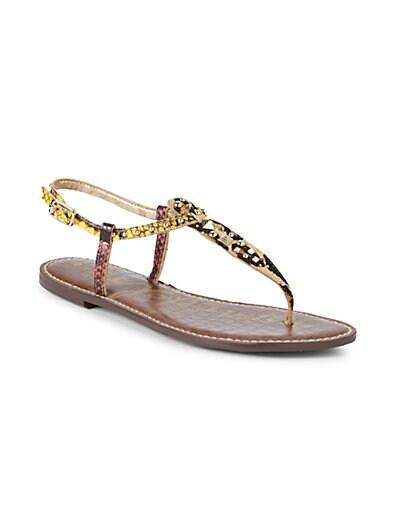 126c7009cd ... Sam Edelman Gigi Snake Embossed Leather & Calf Hair T-Strap Flat Sandals