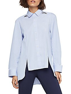 8a2e0e73f094a QUICK VIEW. BCBGMAXAZRIA. Striped High-Low Shirt