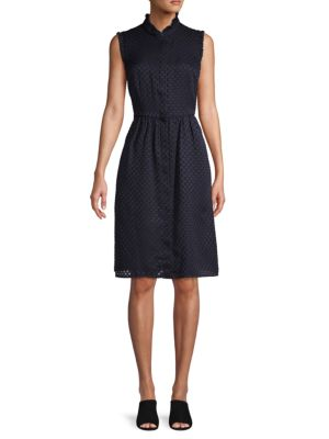 Karl Lagerfeld Ruffle-trimmed Button-front Dress In Eclipse