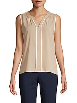 4f66c0089e07b8 Product image. QUICK VIEW. Calvin Klein. Split Neck Sleeveless Stretch Top