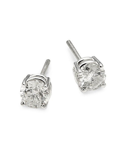 SAKS FIFTH AVENUE | 14K White Gold & Diamond Stud Earrings | Goxip