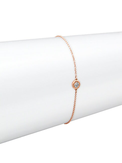 SAKS FIFTH AVENUE | 14K Rose Gold & Diamond Bracelet | Goxip