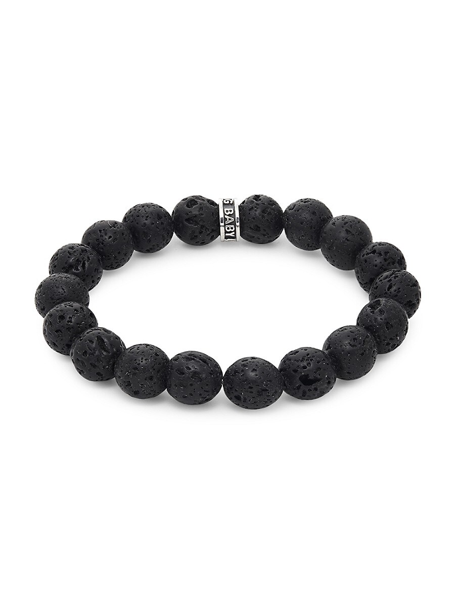 Men's Lava Rock Sterling Silver Bracelet
