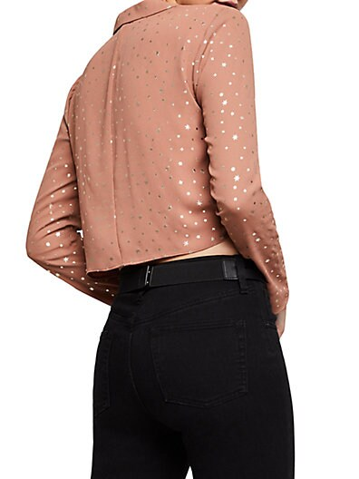 5b120954f2da40 ... BCBGeneration Metallic Star Tie-Front Blouse