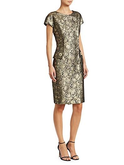 63c855ec30f Teri Jon Cap Sleeve Metallic Jacquard Midi Dress ...
