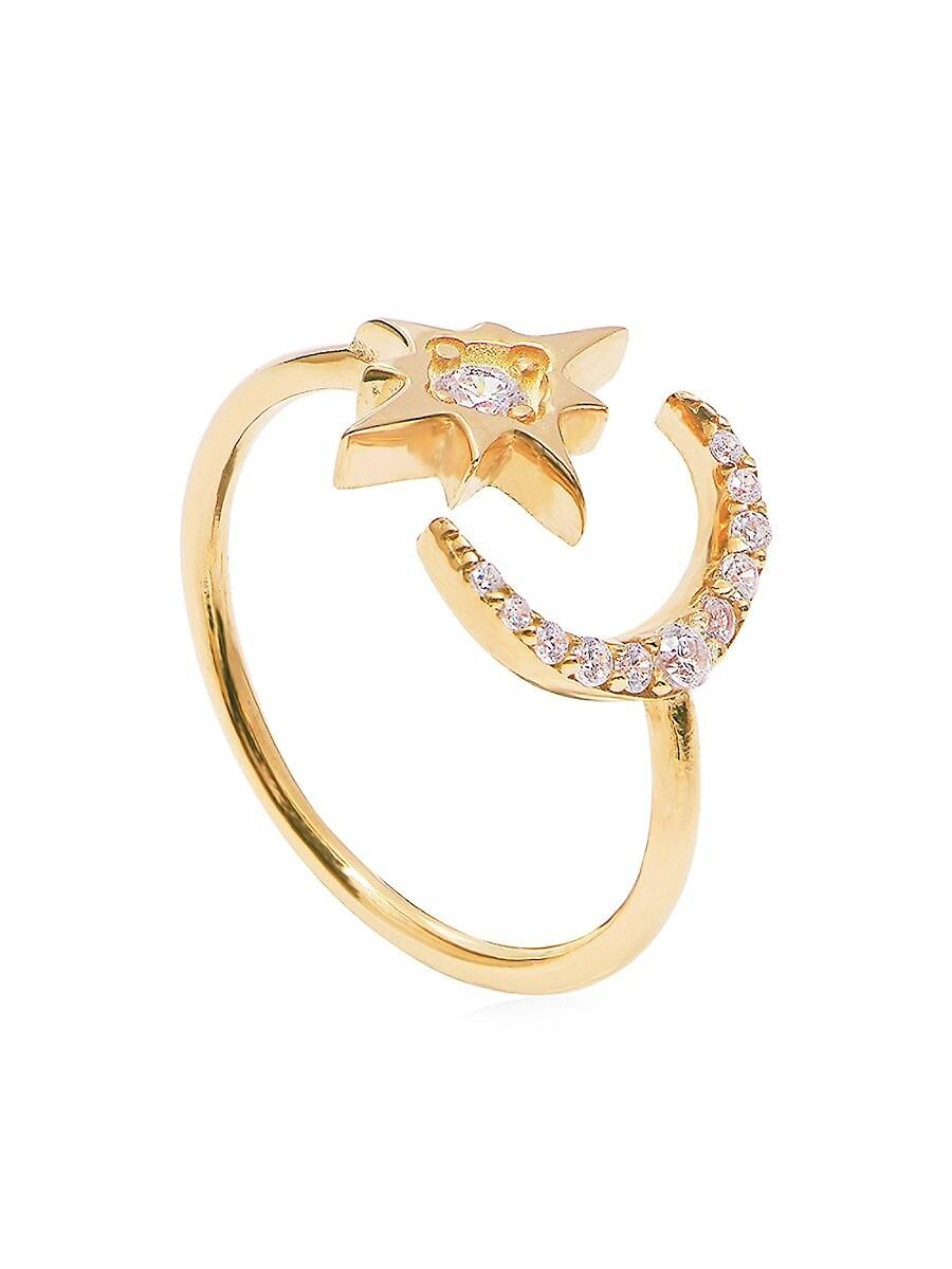 Women's Cubic Zirconia Moon & Star Adjustable Ring