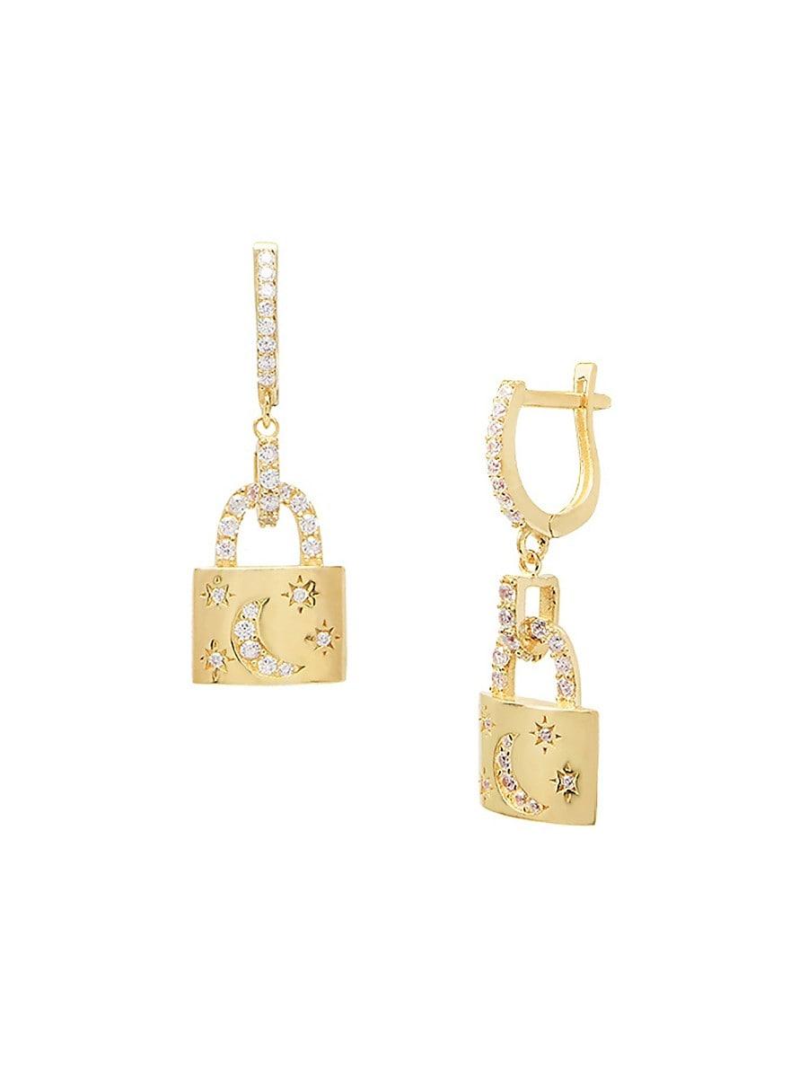 Women's Crescent Lock 22K Gold Vermeil & Cubic Zirconia Huggie Hoop Earrings