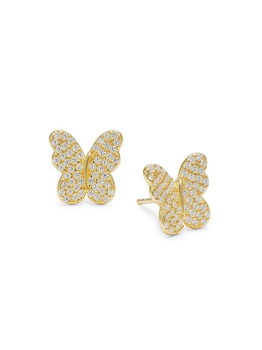Women's 14K Gold Vermeil & Cubic Zirconia Butterfly Stud Earrings