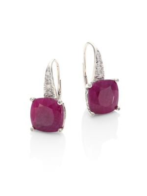 John Hardy Accessories Classic Chain Diamond, Ruby & Sterling Silver Drop Earrings