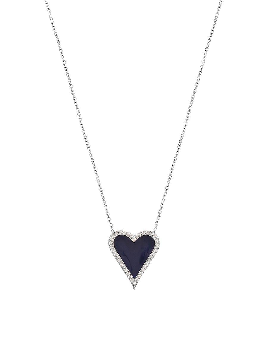 Women's Enamel & Cubic Zirconia Border Heart Pendant Necklace
