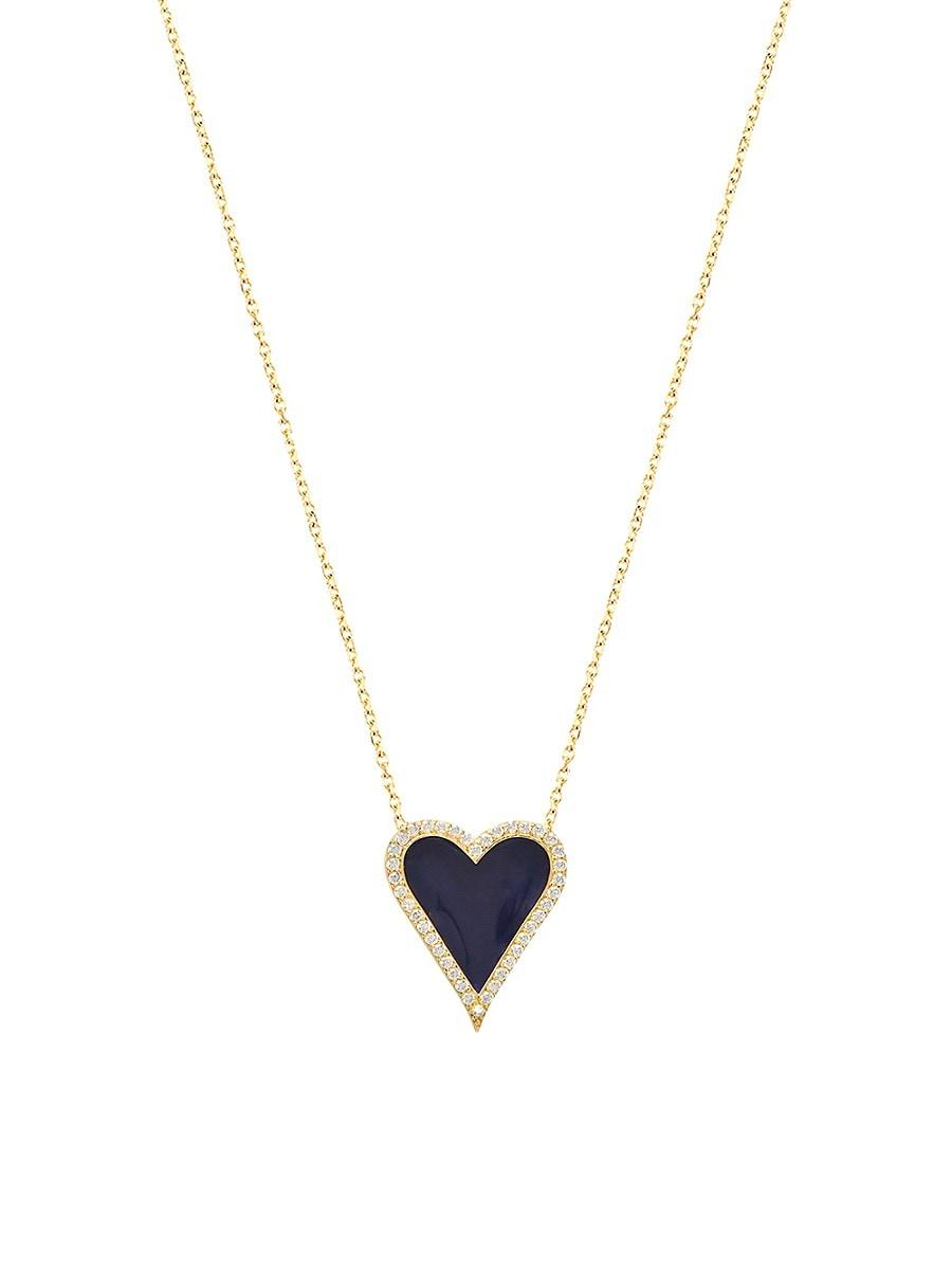 Women's Cubic Zirconia & Enamel Pave Border Heart Pendant Necklace
