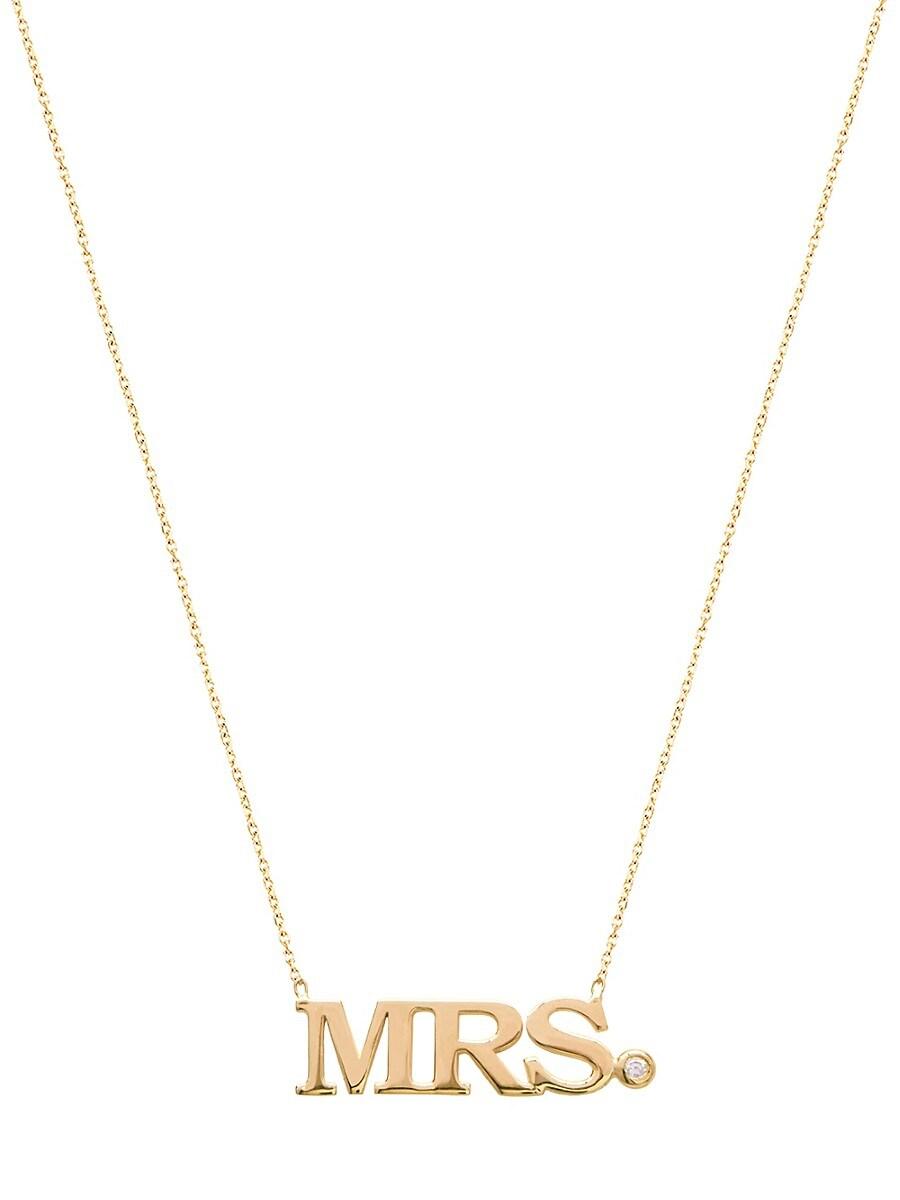 Women's Cubic Zirconia Goldtone Mrs. Pendant Necklace