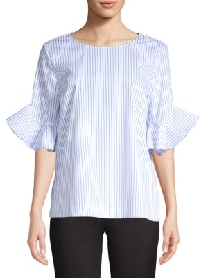 Calvin Klein Collection Chambray Ruffle-Sleeve Blouse In Chambray Stripe