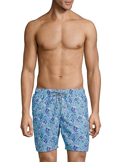 BOARDIES   Wave-Print Drawstring Swim Shorts   Goxip