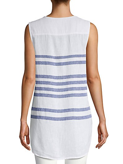 e5e2c9680a ... Beach Lunch Lounge Stripe Linen   Cotton Blend Top