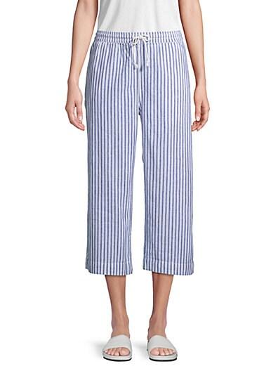 b8ea7819e4 Beach Lunch Lounge Striped Linen   Cotton Blend Pants ...