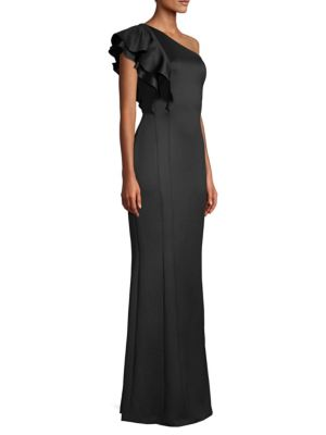 Black Halo Tops Mabel Ruffle Gown