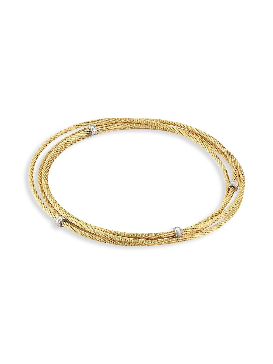 Women's Goldplated Stainless Steel Triple Wrap Cable Bracelet