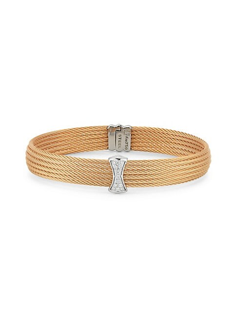 ALOR | 18K Rose Gold Stainless Steel Diamond Cable Cuff | Goxip