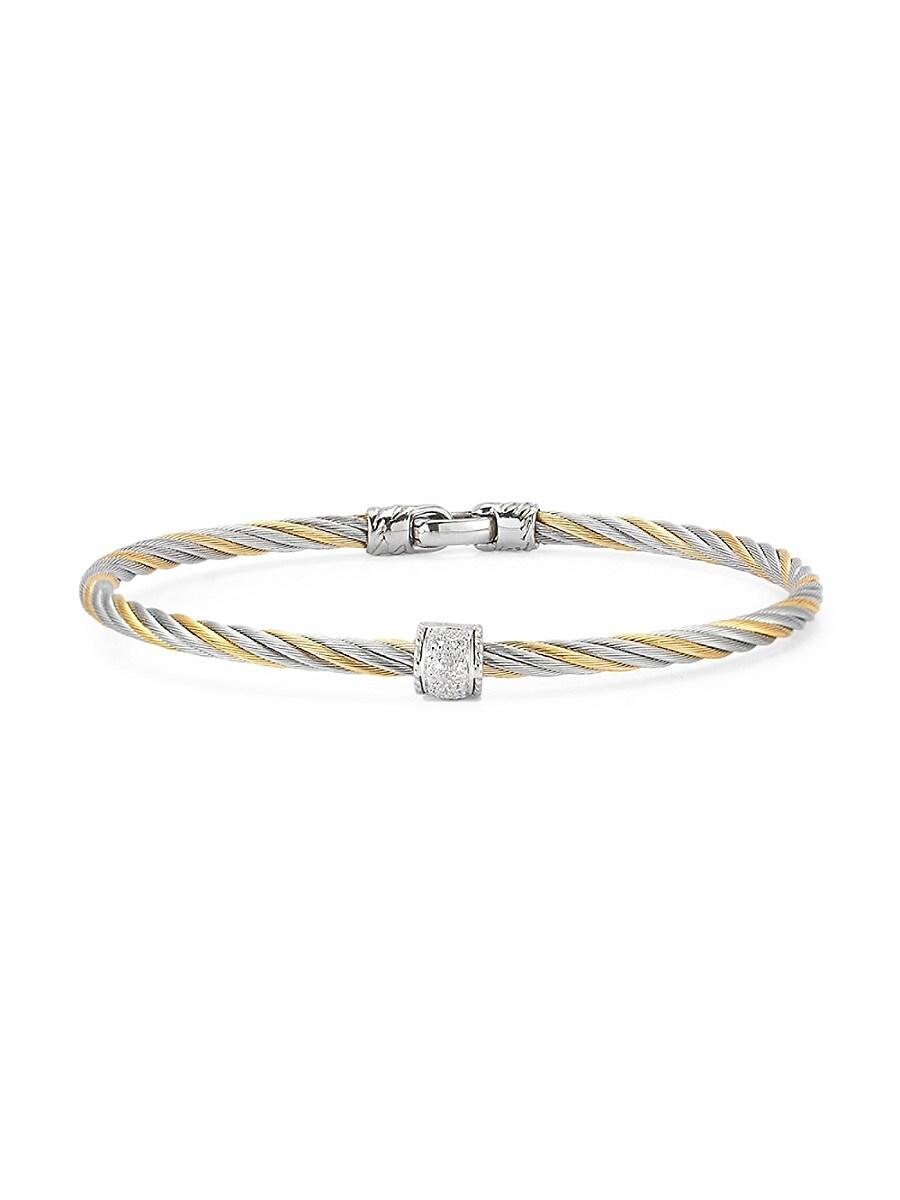 Women's 18K Yellow Gold Stainless Steel Diamond Cable Bracelet