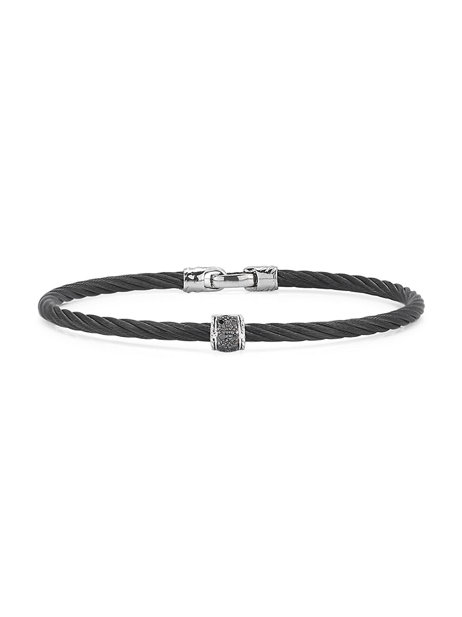 Women's Black Diamond 18K White Gold Single Cable Bracelet