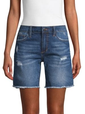 Joe's Jeans Shorts Frayed Denim Bermuda Shorts
