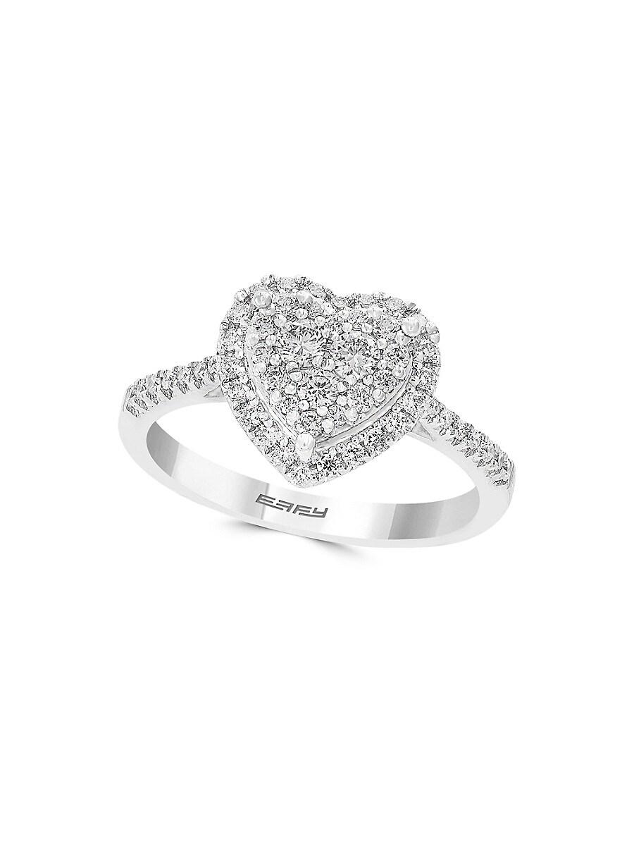 Women's Heart 14K White Gold & Diamond Ring
