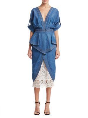 Johanna Ortiz Coats Nuevomexicana Denim Trench Coat Dress