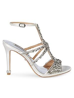 ae1d3b0f5135 Badgley Mischka - Hollow Embellished Metallic High-Heel Sandals ...