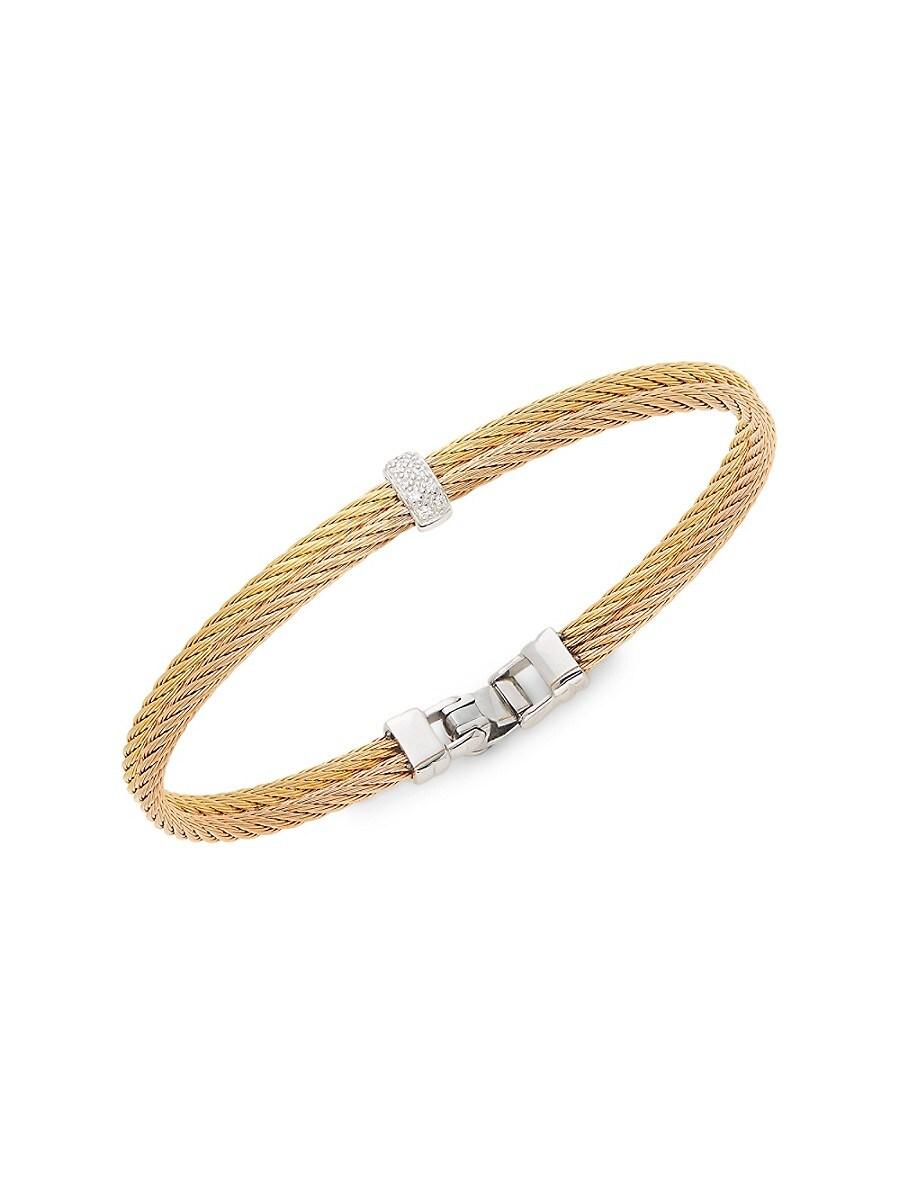 Women's 18K Rose Gold & Two-Tone Stainless Steel Diamond Rope Bangle Bracelet