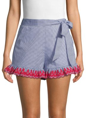 English Factory Shorts Embroidered Cotton Gingham Shorts