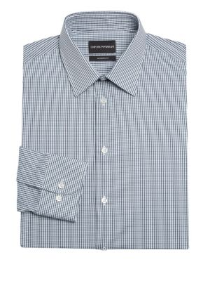 Giorgio Armani Dresses Modern Fit Check Dress Shirt