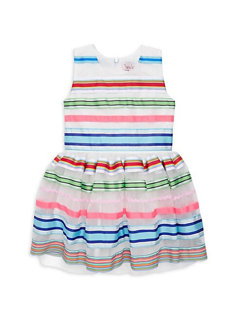 Little Girls  Girls Striped Ribbon FitAndFlare Dress