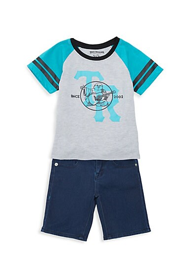 f414de43 True Religion Baby Boy's 2-Piece Graphic Cotton-Blend Tee & Denim Shorts Set  ...