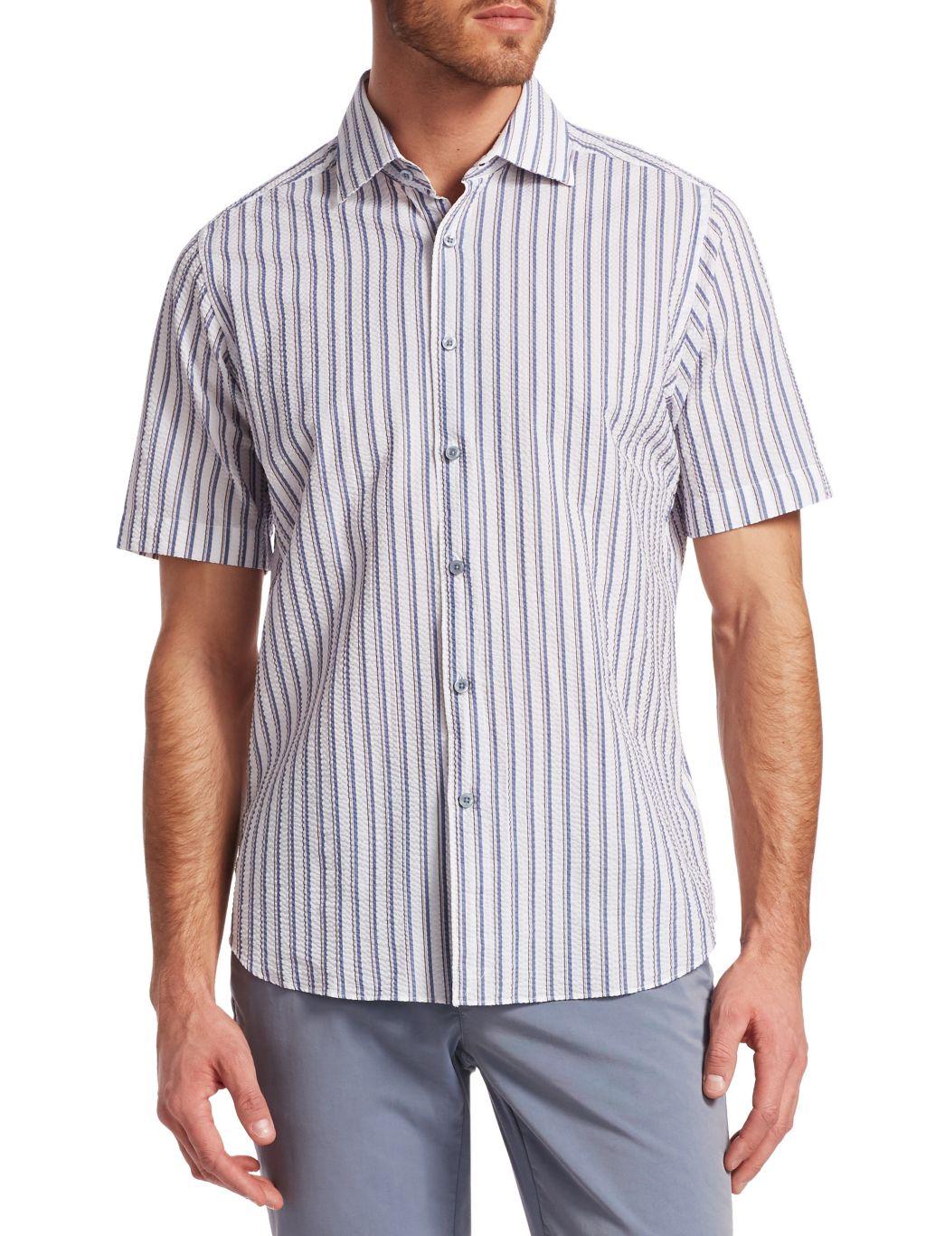 Saks Fifth Avenue COLLECTION Seersucker Stripe Woven Cotton Button-Down Shirt