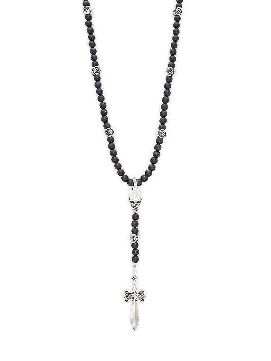 Men's Sterling Silver & Black Onyx Rosary Bead Necklace