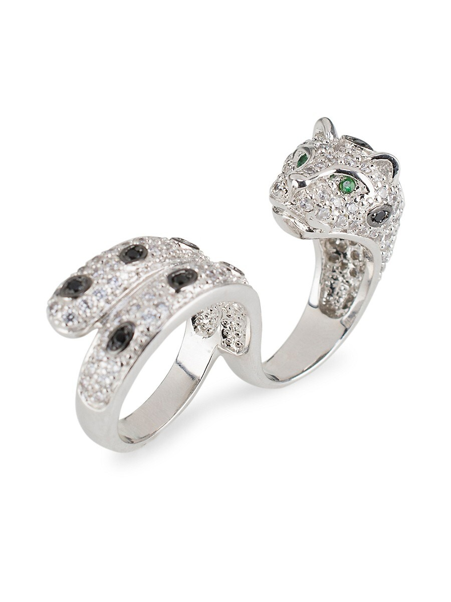 Women's Silvertone & Cubic Zirconia Panther Double-Finger Ring