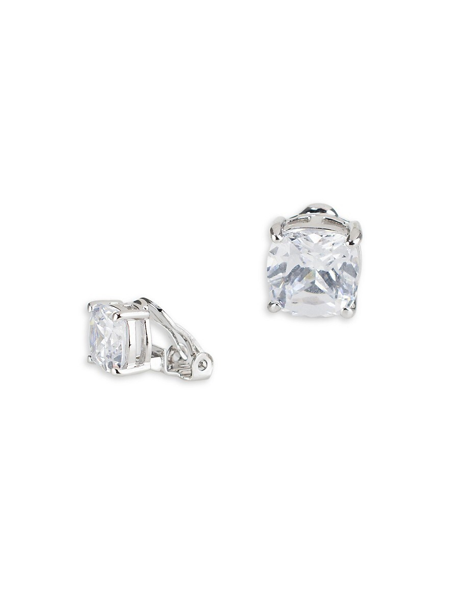 Women's Silvertone & Cubic Zirconia Clip-On Earrings