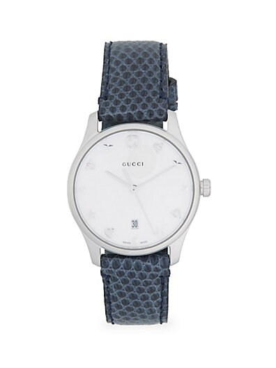 0730ba73c35 Gucci Analog Mother-Of-Pearl Snakeskin-Embossed Leather Strap Watch ...