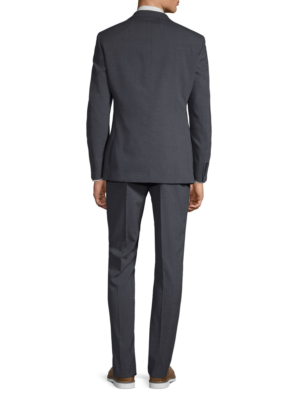 Calvin Klein Two-Piece Extra Slim Fit Mini Check Wool Suit