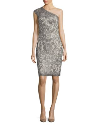 Tadashi Shoji Embroidered One-Shoulder Dress